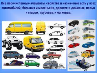 Все перечисленные элементы, свойства и назначение есть у всех автомобилей: б