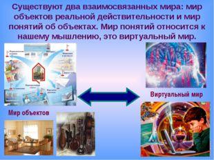 Существуют два взаимосвязанных мира: мир объектов реальной действительности и