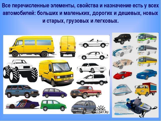 Все перечисленные элементы, свойства и назначение есть у всех автомобилей: б...