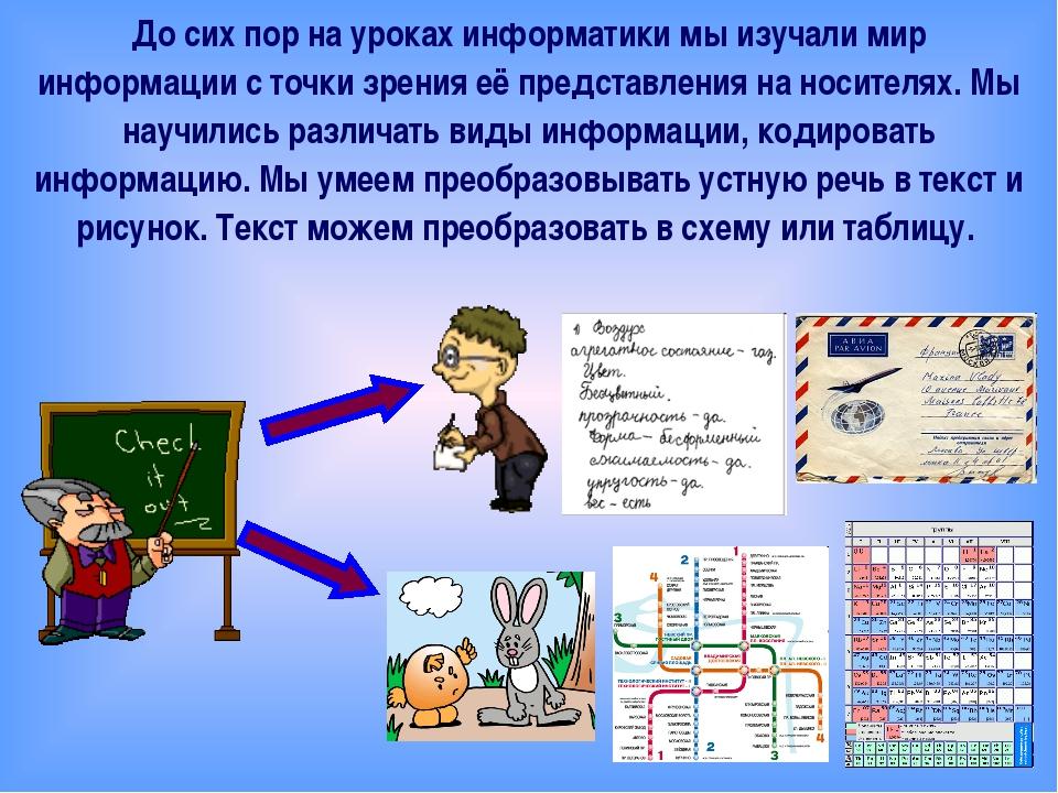 До сих пор на уроках информатики мы изучали мир информации с точки зрения её...
