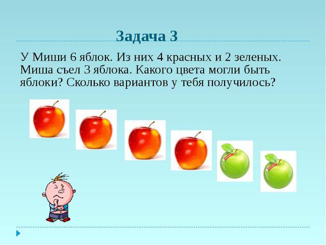 У Миши 6 яблок. Из них 4 красных и 2 зеленых. Миша съел 3 яблока. Какого цвет...