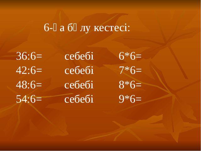 6-ға бөлу кестесі: 36:6= себебі 6*6= 42:6= себебі 7*6= 48:6= себебі 8*6= 54:...