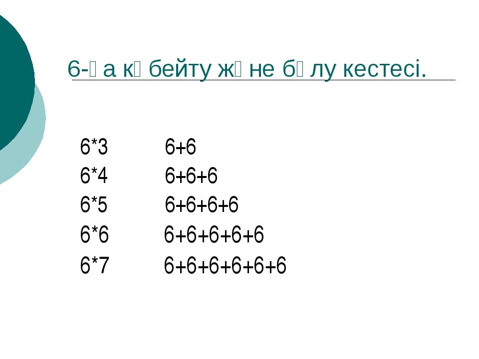 6-ға көбейту және бөлу кестесі. 6*3 6+6 6*4 6+6+6 6*5 6+6+6+6 6*6 6+6+6+6+6...