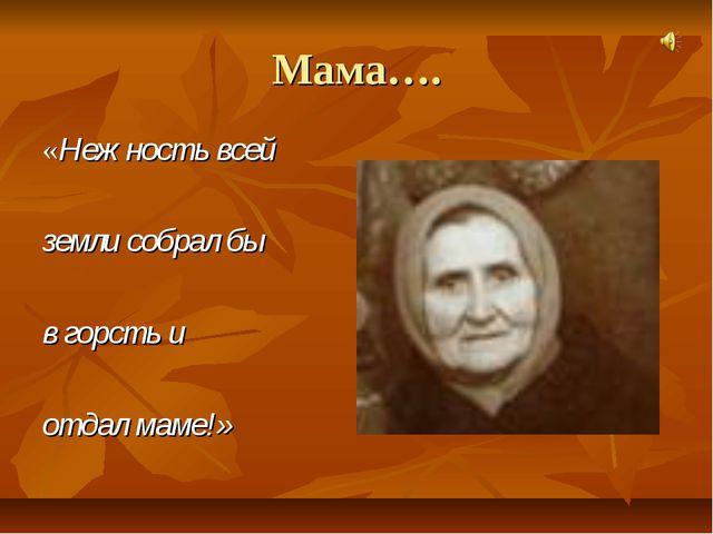 Мама…. «Нежность всей земли собрал бы в горсть и отдал маме!»