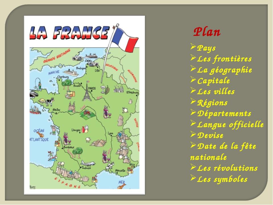 Plan Pays Les frontières La géographie Capitale Les villes Régions Départemen...