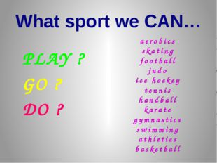 What sport we CAN… PLAY ? GO ? DO ? aerobics skating football judo ice hockey