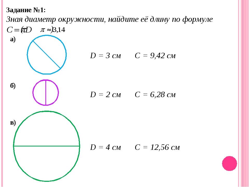 Задание №1: Зная диаметр окружности, найдите её длину по формуле ( ). а) б) в...