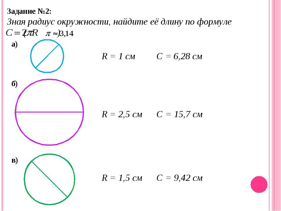 Задание №2: Зная радиус окружности, найдите её длину по формуле ( ). а) б) в)...