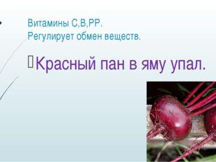 Витамины С,В,РР. Регулирует обмен веществ. Красный пан в яму упал.