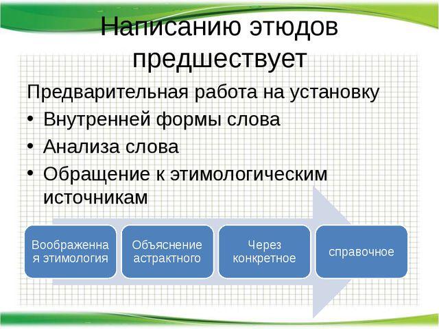 Написанию этюдов предшествует Предварительная работа на установку Внутренней...