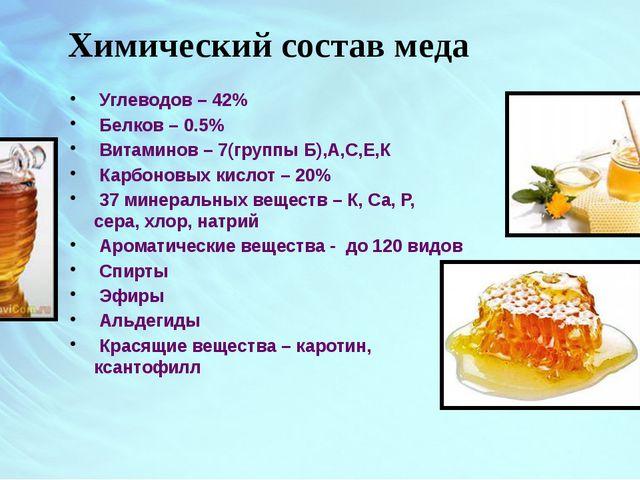 Химический состав меда Углеводов – 42% Белков – 0.5% Витаминов – 7(группы Б),...