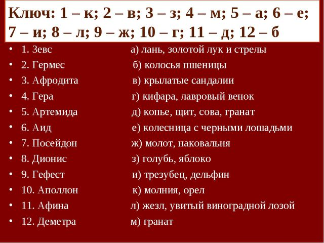 Задание: Подбери пару – имена греческих богов и их символы 1. Зевс а) лань, з...