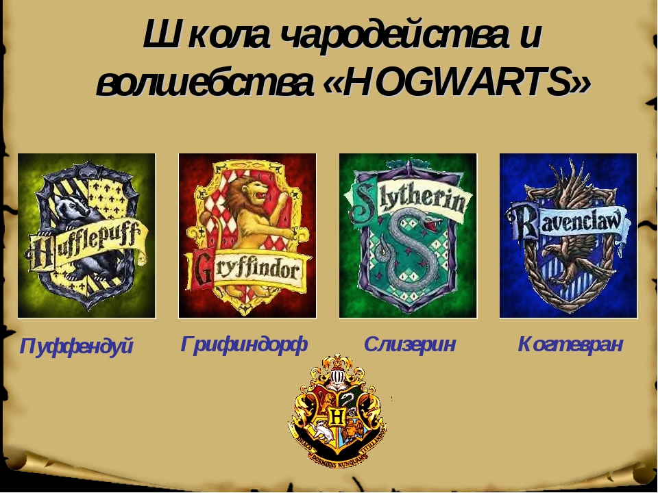 Школа чародейства и волшебства «HOGWARTS» Пуффендуй Грифиндорф Слизерин Когте...