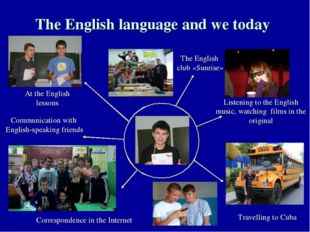 The English language and we today Listening to the English music, watching fi