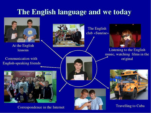 The English language and we today Listening to the English music, watching fi...