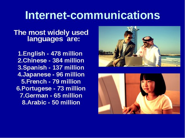 Internet-communications The most widely used languages are: 1.English - 478 m...