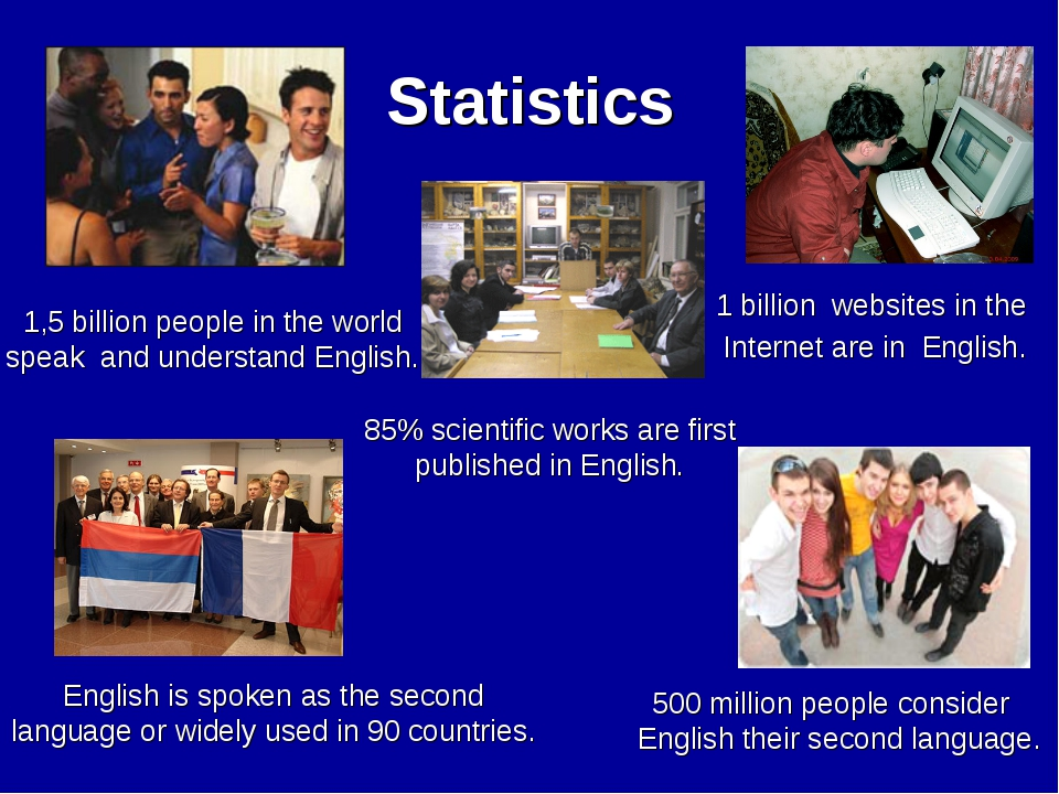 Statistics 500 million people consider English their second language. 85% sci...