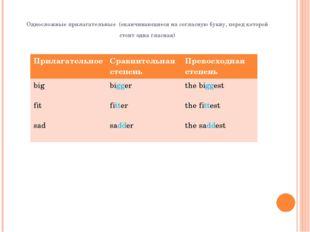 Односложные прилагательные (оканчивающиеся на согласную букву, перед которой