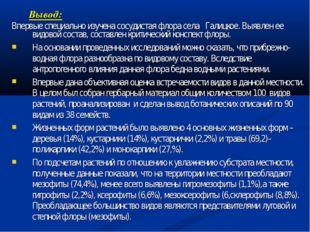 Вывод: Впервые специально изучена сосудистая флора села Галицкое. Выявлен ее