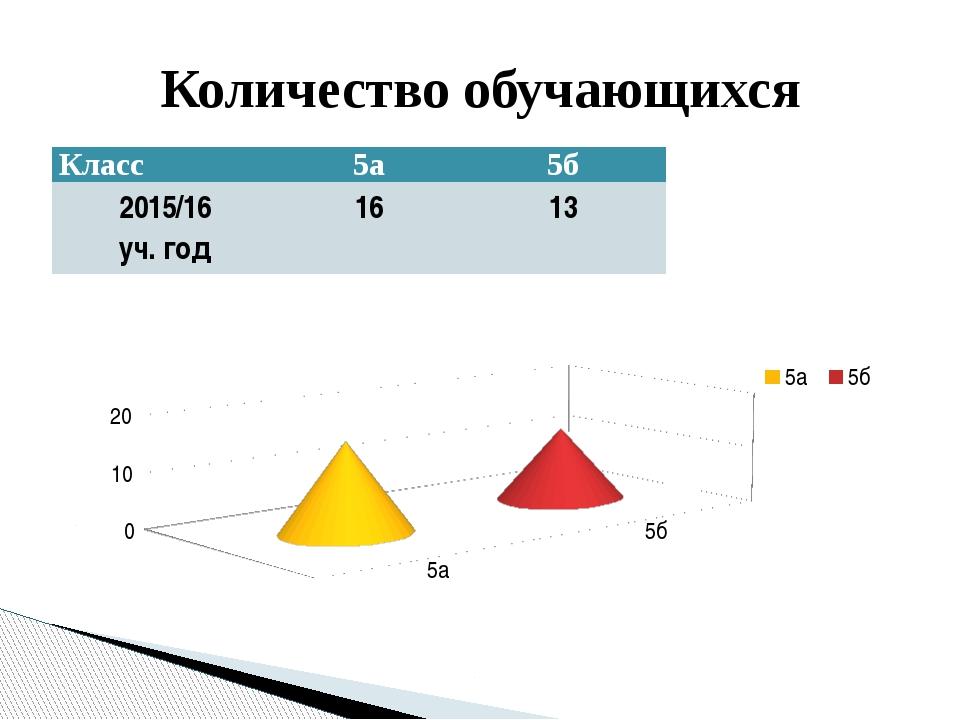 Количество обучающихся Класс 5а 5б 2015/16 уч. год 16 13