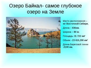 Озеро Байкал- самое глубокое озеро на Земле Место расположения – юг Восточной