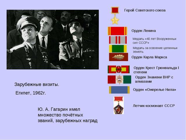 Зарубежные визиты. Египет, 1962г.   Ю. А. Гагарин имел множество почётных з...