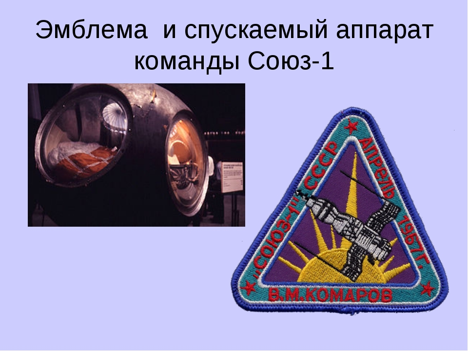 Эмблема и спускаемый аппарат команды Союз-1