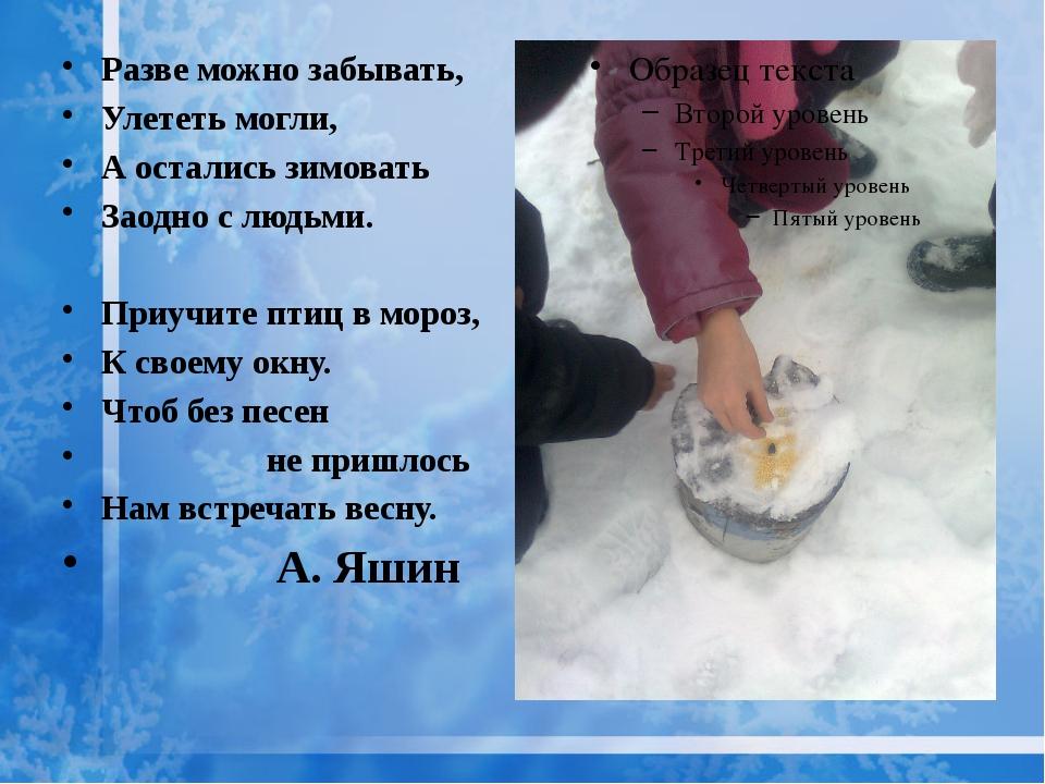 Разве можно забывать, Улететь могли, А остались зимовать Заодно с людьми. Пр...