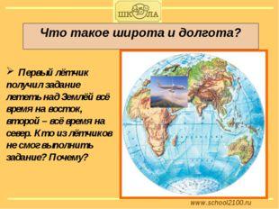 www.school2100.ru Что такое широта и долгота? Первый лётчик получил задание л