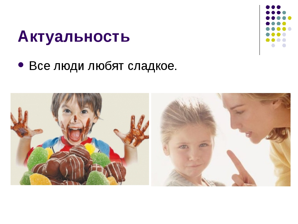 Актуальность Все люди любят сладкое.