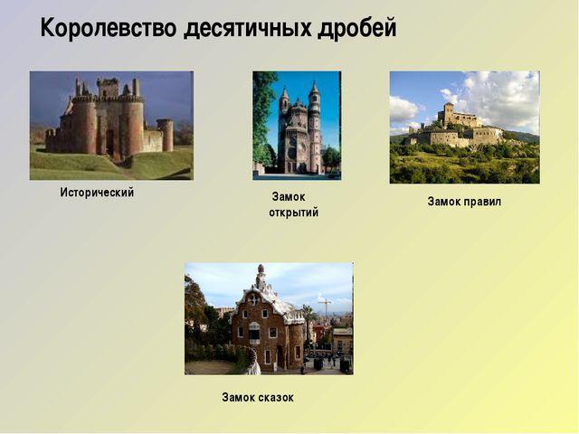 Королевство десятичных дробей  Исторический Замок открытий Замок правил Зам...