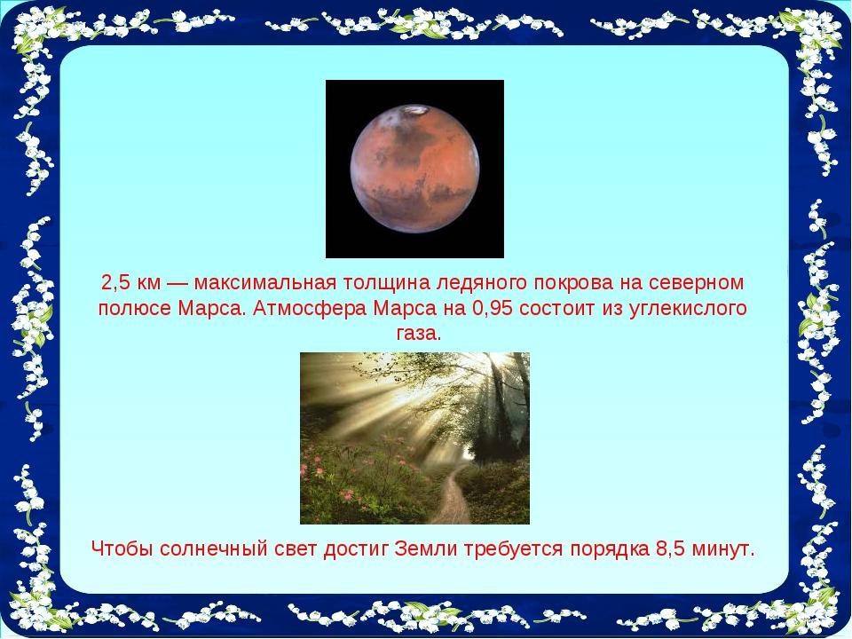 2,5 км — максимальная толщина ледяного покрова на северном полюсе Марса. Атмо...
