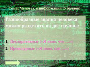 Тема: Человек и информация (8 баллов) 2 байта = бит 2 Кбайта = байт 3072 Мбай