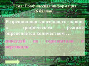 Тема: Графическая информация (10 баллов) Графическое изображение имеет размер