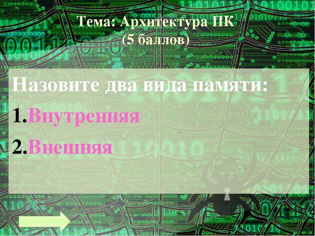 Тема: Архитектура ПК (9 баллов) Что входит в состав системного блока? Материн...
