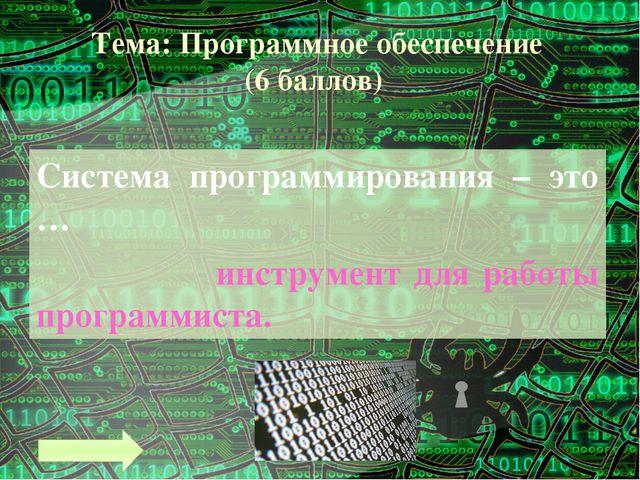 Тема: Программное обеспечение (10 баллов) В каком году был создан первый табл...