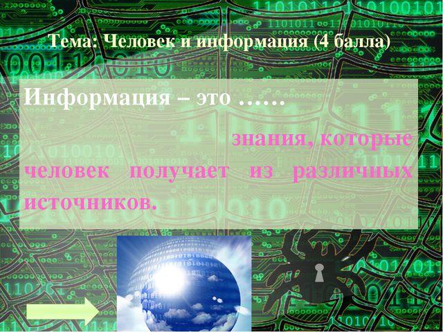 Тема: Человек и информация (7 баллов) Назовите единицы измерения и информации...