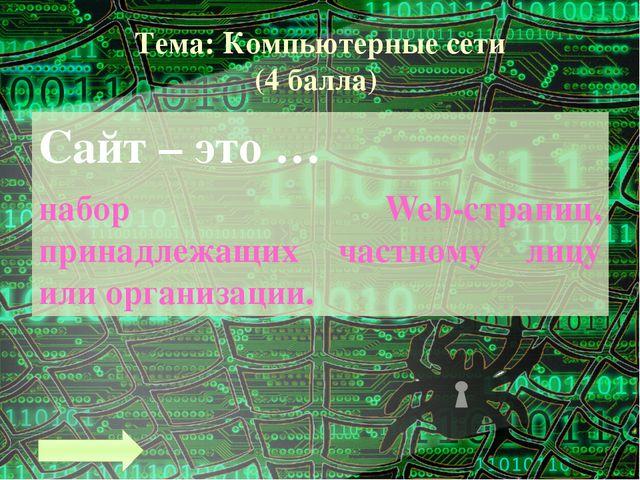 Тема: Компьютерные сети (8 баллов) Что такое Web-страница? Основная информаци...