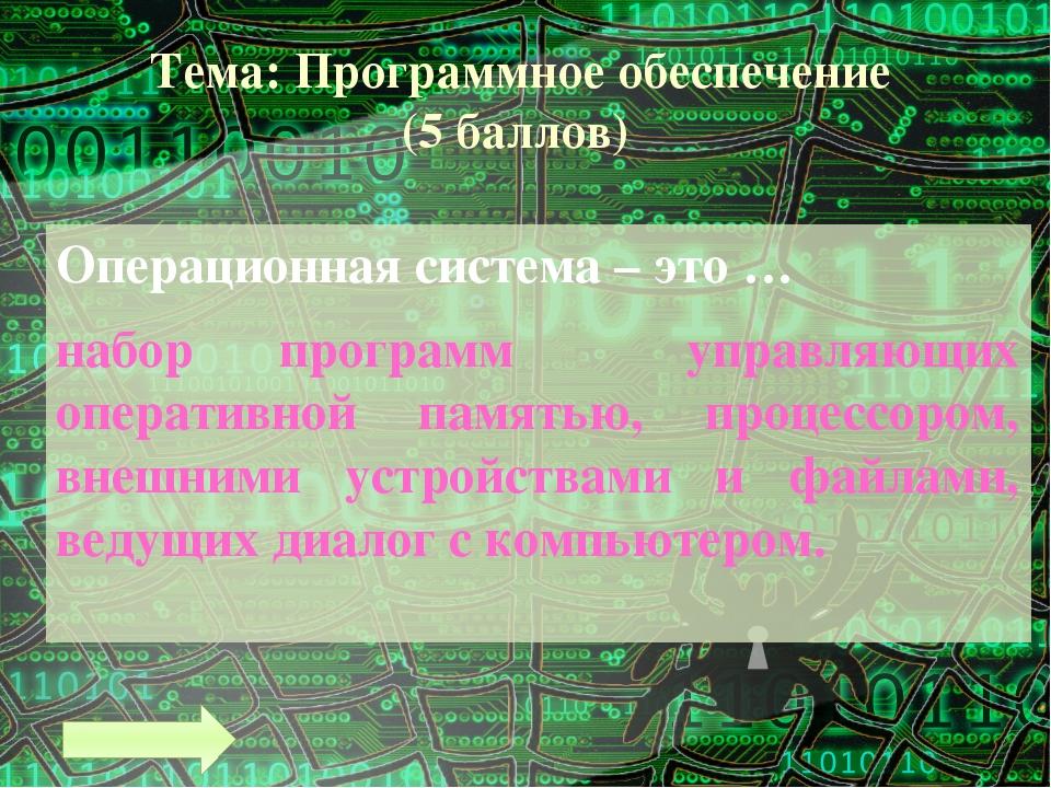 Тема: Программное обеспечение (9 баллов) Самым массовым спросом среди приклад...