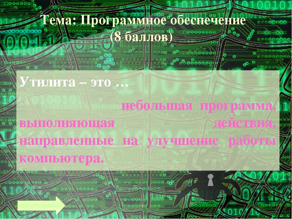 Тема: Текстовая информация (5 баллов) Текстовый редактор – это прикладная про...