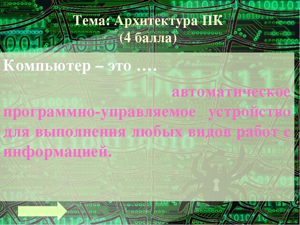 Тема: Архитектура ПК (8 баллов) Назовите устройства вывода информации Монитор...