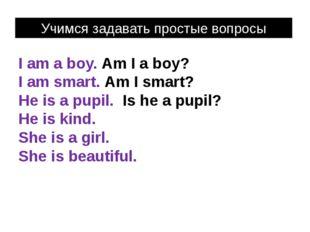 I am a boy. Am I a boy? I am smart. Am I smart? He is a pupil. Is he a pupil?