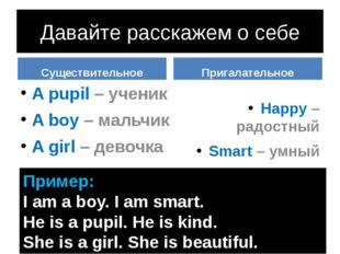 Давайте расскажем о себе Существительное A pupil – ученик A boy – мальчик A g