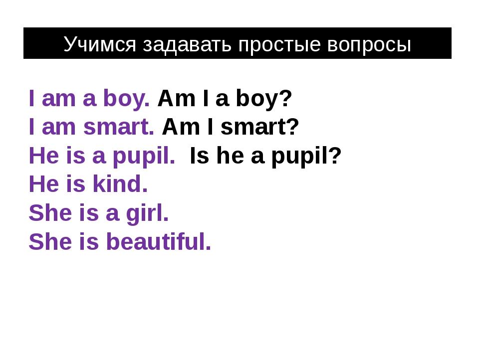 I am a boy. Am I a boy? I am smart. Am I smart? He is a pupil. Is he a pupil?...