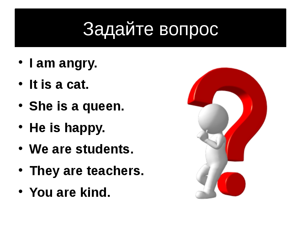Задайте вопрос I am angry. It is a cat. She is a queen. He is happy. We are s...