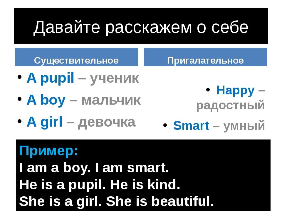 Давайте расскажем о себе Существительное A pupil – ученик A boy – мальчик A g...