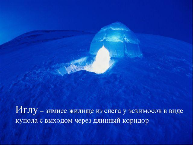 Иглу – зимнее жилище из снега у эскимосов в виде купола с выходом через длинн...