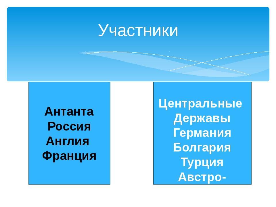 Участники Антанта Россия Англия Франция Центральные Державы Германия Болгари...