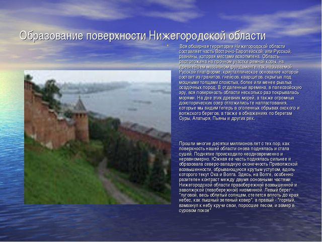 Образование поверхности Нижегородской области Вся обширная территория Нижегор...