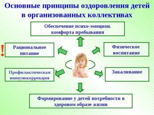 Основные принципы оздоровления детей в организованных коллективах Обеспечение